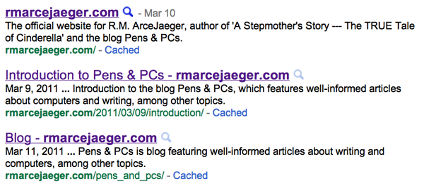 Google Search Results for rmarcejaeger.com